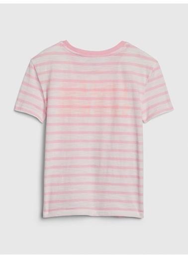 Gap Kısa Kollu Çizgili T-Shirt Pembe